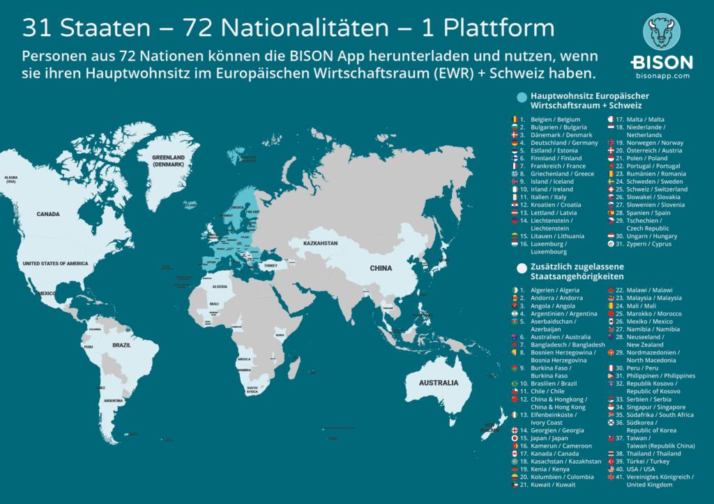BISON Weltkarte zugelassene Nationalitäten