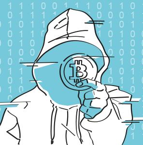 Illustration eines Cypherpunk im Blogbeitrag zur Geschihcte der Kryptowährungen.