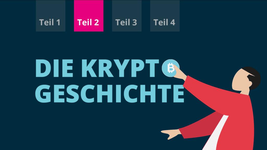 Blogtitelbild der Geschichte der kryptowährungen Teil 2 im BISON Blog.