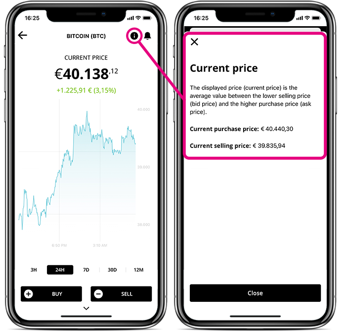 Screens of BISON App with current price