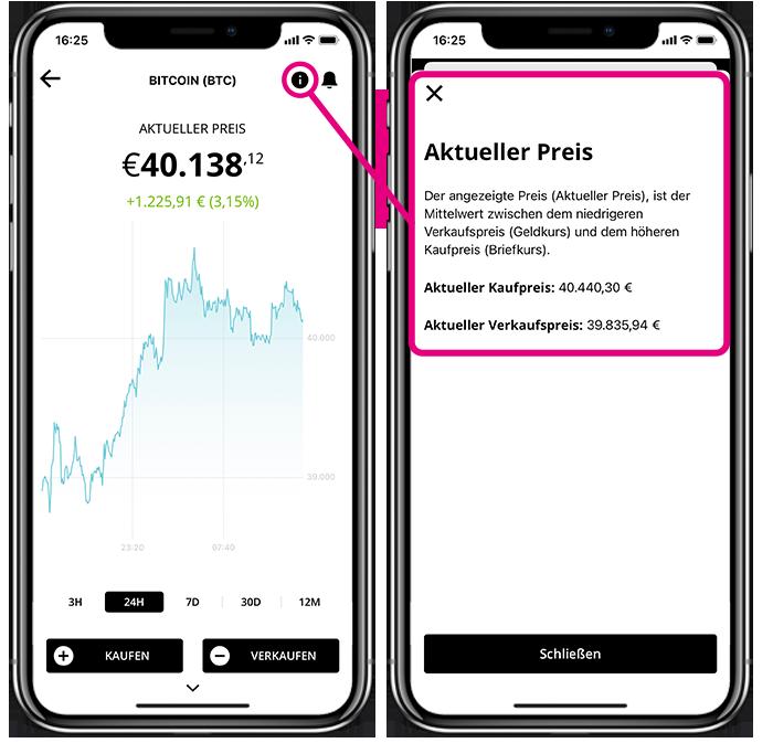 2 Screens der BISON App zum Aktuellen Preis
