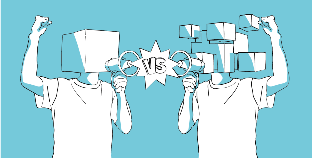 Im Blocksize-Streit kämpften die Big Blocker gegen die Small Blocker. Illustration im Blogbeitrag zur Geschichte der Kryptowährungen.