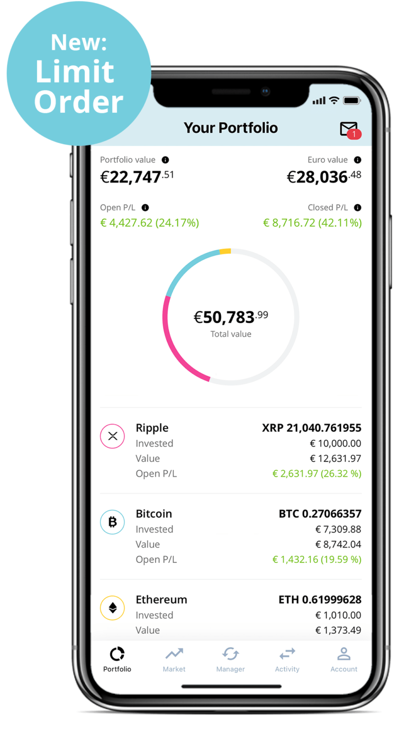New Limit Order | portfolio screes shows cryptocurrencies in BISON App | buy and sell cryptocurrencies