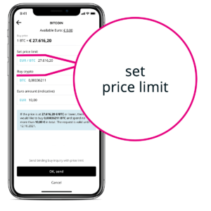 How to set a Limit Order in BISON App - fourth step.