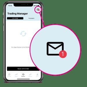 Nachricht in der BISON App, um Limit Order neu zu aktivieren.